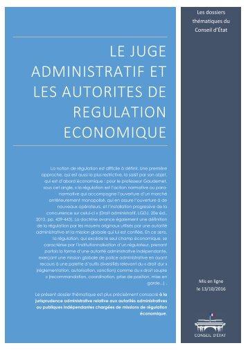 ADMINISTRATIF ET LES AUTORITES DE REGULATION ECONOMIQUE