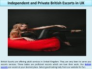 Independent and Private British Escorts in UK