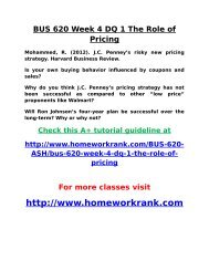 BUS 620 Week 4 DQ 1 The Role of Pricing