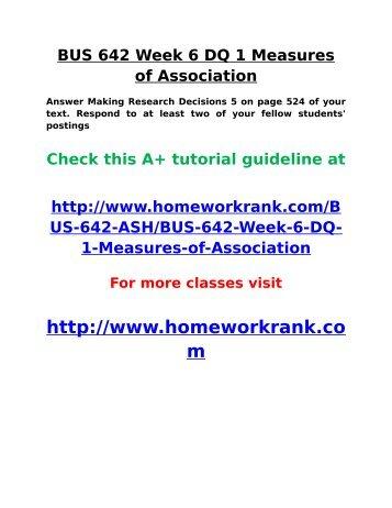 BUS 642 Week 6 DQ 1 Measures of Association