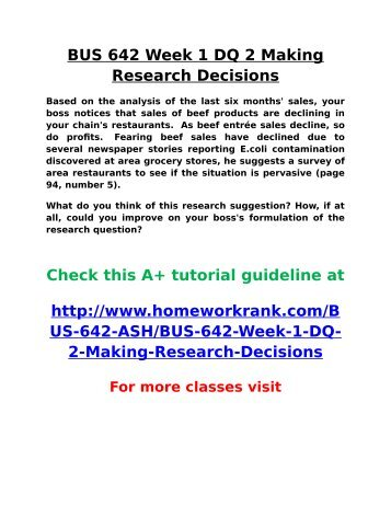 bus 642 week1 Bus 642 week 6 assignment research project (2 papers) this tutorial was purchased 6 times & rated a by student like you this tutorial contains 2 different projects the final version of your research project should be 10-12 double-spaced pages (not including the title page, reference page, tables, appendices, etc.