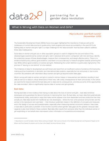 What Is Wrong with Data on Women and Girls?