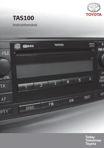 Toyota TAS100 - PZ49X-00210-SV - TAS100 (Swedish) - mode d'emploi