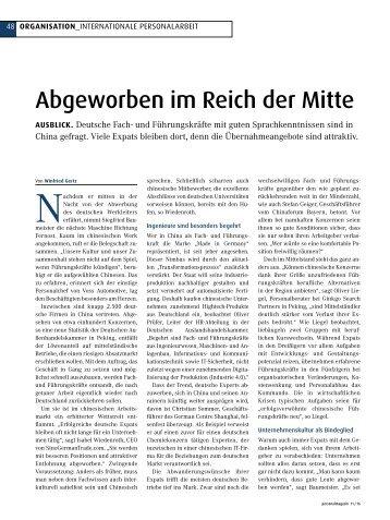 Personalmagazin: Abgeworben im Reich der Mitte