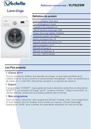 Vedette Lave linge hublot Vedette VLF 822SW - fiche produit