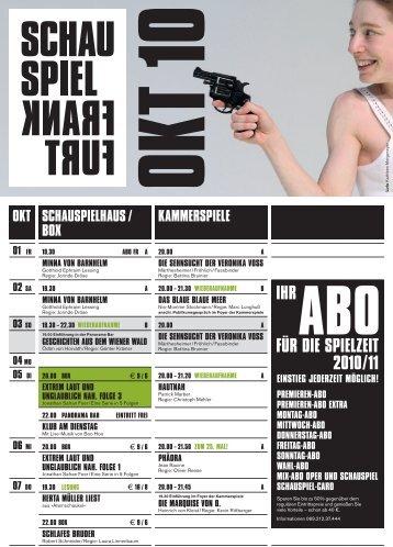 Schauspiel Frankfurt Programm Oktober 2010