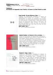 Keine Publikation des Museums für Angewandte Kunst Frankfurt