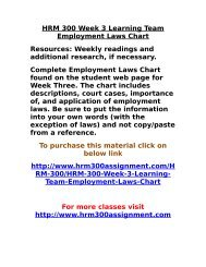 UOP HRM 300 Week 3 Learning Team Employment Laws Chart