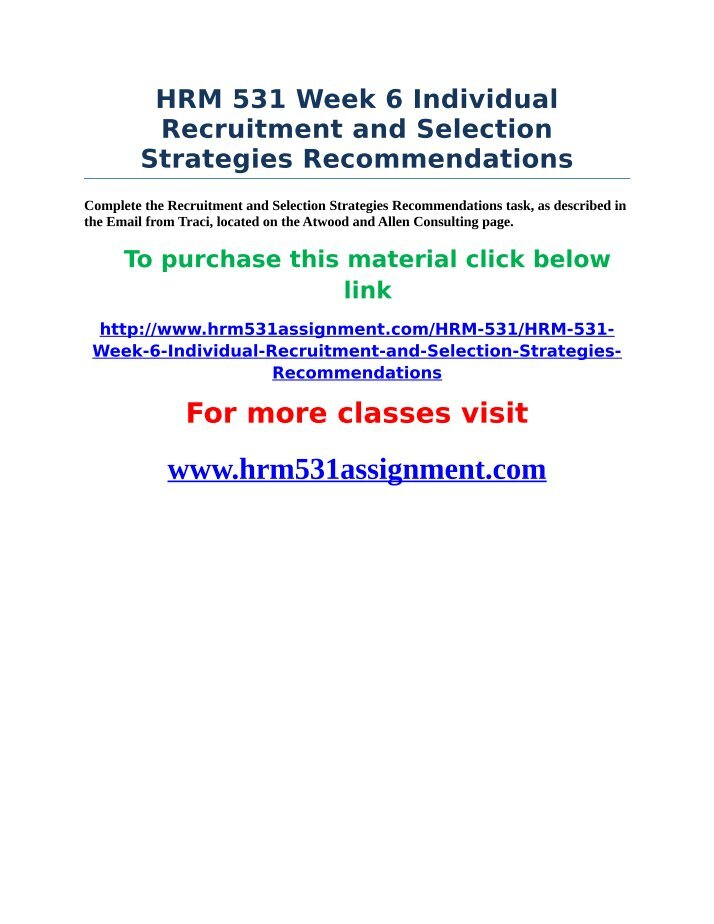 hrm 531 recruitment strategies This website uses cookies so that we can provide you with the best user experience by continuing to use this website you are giving consent to cookies being used.