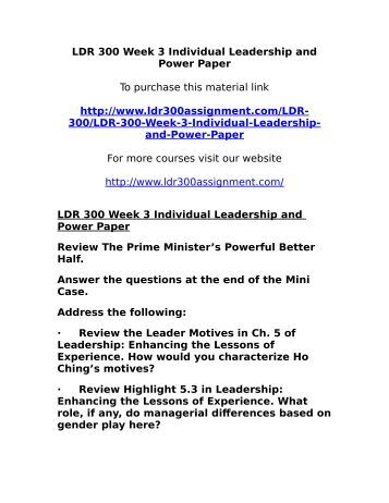 leadership and power paper During his career he has served in a variety of executive leadership  experience in industries that include power, oil and gas, chemicals, pulp and paper,.