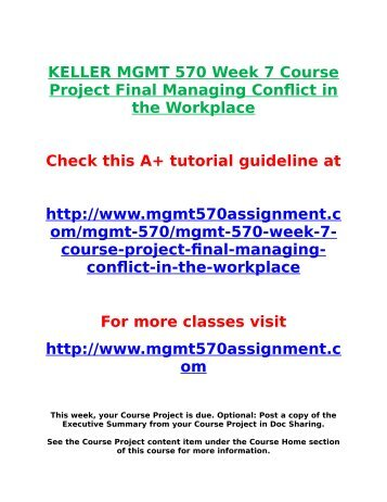 managing conflict in the workplace week Mgmt 570 week 7 course project final (managing conflict in the workplace) managing conflict in the workplace questions & answers showing 1 to 3 of 3.