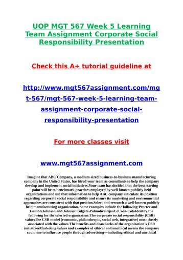 UOP MGT 567 Week 5 Learning Team Assignment Corporate Social Responsibility Presentation