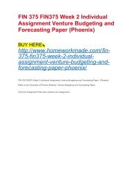FIN 375 FIN375 Week 2 Individual Assignment Venture Budgeting and Forecasting Paper (Phoenix)