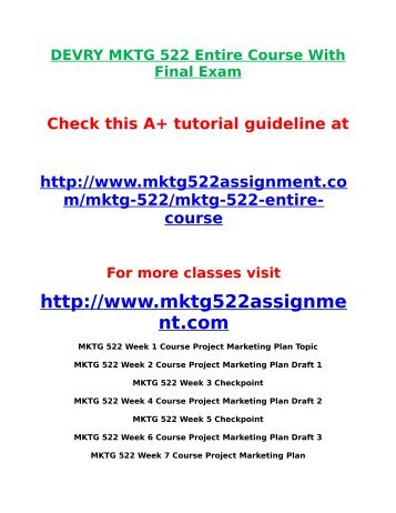 mktg 522 Read this essay on mktg 522 week 3 assignment create the value come browse our large digital warehouse of free sample essays get the knowledge you need in order to pass your classes and more.