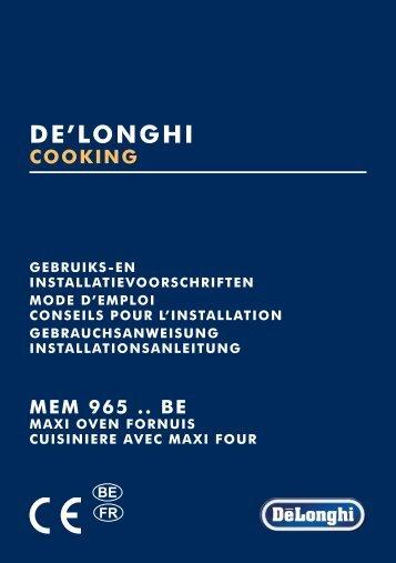 Delonghi Piano de cuisson mixte Delonghi MEM965BA - notice