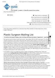 Plastic Surgeons email address lists