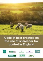 Code of best practice on the use of snares for fox control in England