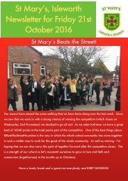 St Mary's Isleworth Newsletter for Friday 21st October 2016