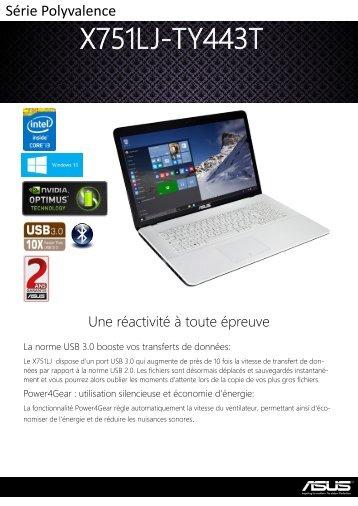 Asus Ordinateur portable Asus X751LJ-TY443T Blanc - fiche produit