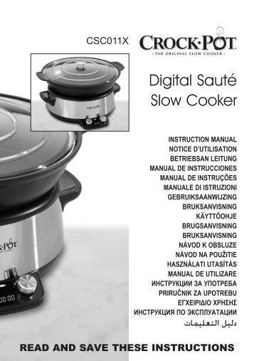 Crock Pot Mijoteuse Crock Pot CSC011X-01 - notice