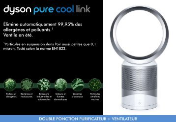 Dyson Purificateur-ventilateur Dyson Cool Purifier Desk Fan White/silver - fiche produit