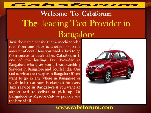 Outstation car hire in bangalore|Cabs Forum