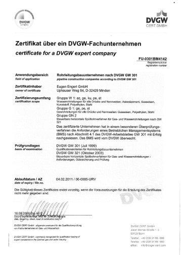 company 5 Zertifikat über ein DVGW-Fachunternehmen certificate ...