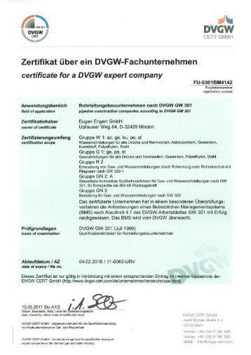 DVGW-GW 301 und GW 320-I - Eugen Engert GmbH