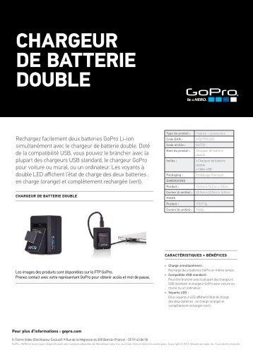 Gopro Chargeur Gopro USB double batterie - fiche produit