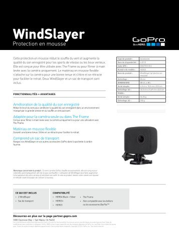 Gopro Protection Gopro en mousse windslayer - fiche produit