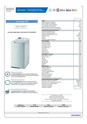 Indesit Lave linge top Indesit ITW D 71252 W - fiche produit