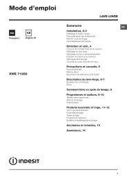 Indesit Lave linge hublot Indesit INNEX EX XWE 71252 W - notice