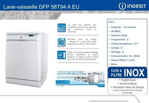 indesit lave vaisselle indesit dfp 58t94 a eu mode d'emploi et