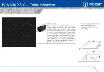 Indesit Table induction Indesit IVIA630XSC - fiche produit