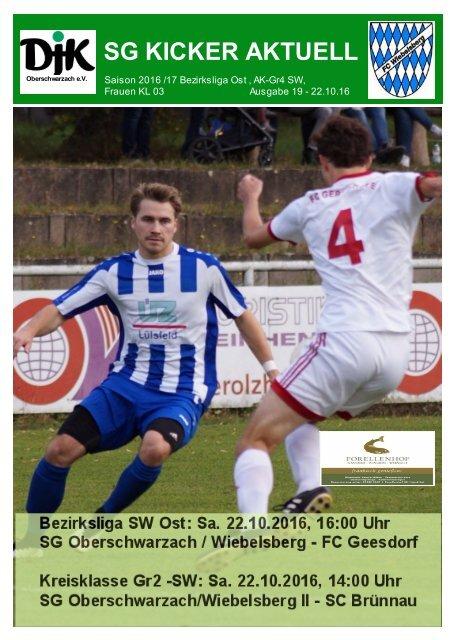SG KICKER AKTUELL -Ausgabe Nr. 19 - Stadionheft SG Oberschwarzach / Wiebelsberg