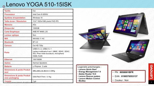Lenovo PC Hybride Lenovo YOGA 510-15ISK-1BFR - fiche produit