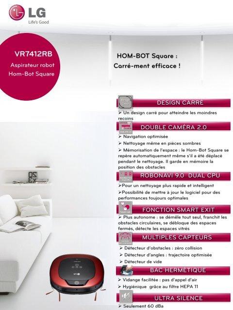 lg aspirateur robot lg vr7412rb hom-bot square mode d'emploi et