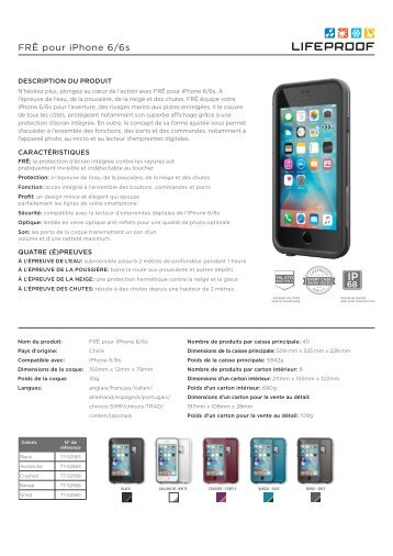 Lifeproof Coque Lifeproof FRE iPhone 6/6S avalanche - fiche produit