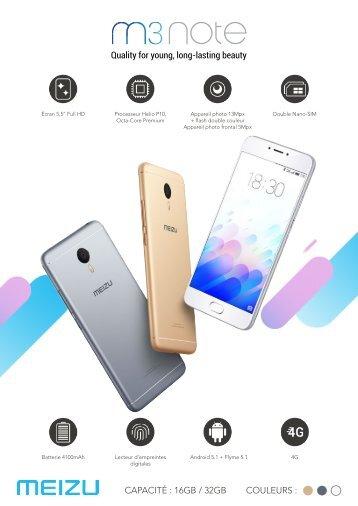Meizu Smartphone Meizu M3 Note 16 Go Silver - fiche produit
