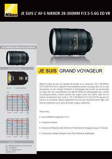 Nikon Objectif pour Reflex Nikon AF-S 28-300mm f/3.5-5.6G ED VR Nikkor - fiche produit