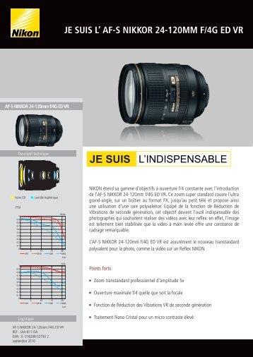 Nikon Objectif pour Reflex Nikon AF-S 24-120mm f/4G ED VR Nikkor - fiche produit
