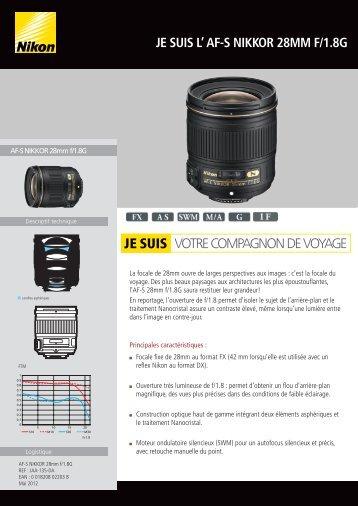 Nikon Objectif pour Reflex Nikon AF-S 28mm f/1.8G Nikkor - fiche produit