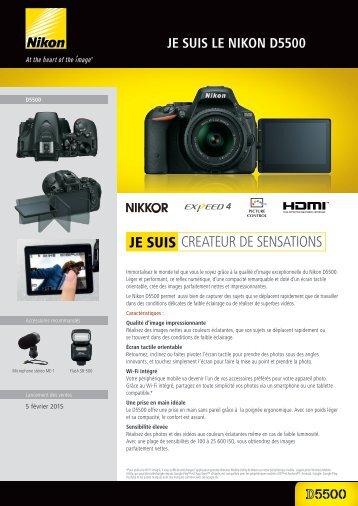 Nikon Appareil photo Reflex Nikon D5500 Nu - fiche produit