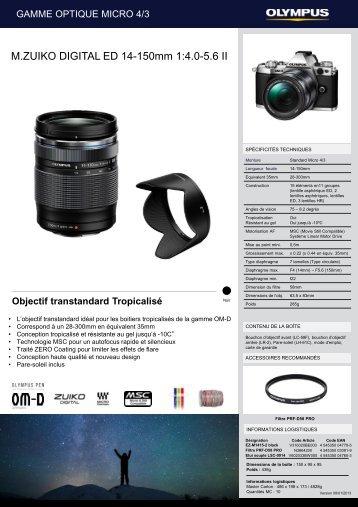 Olympus Objectif pour Hybride Olympus 14-150mm f/4.0-5.6 II noir M.Zuiko - fiche produit