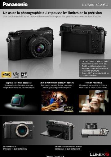 Panasonic Appareil photo Hybride Panasonic DMC-GX80 silver Nu - fiche produit