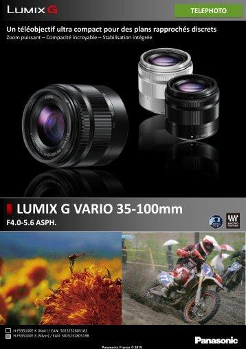 Panasonic Objectif pour Hybride Panasonic 35-100mm f/4-5.6 noir OIS Lumix G - fiche produit