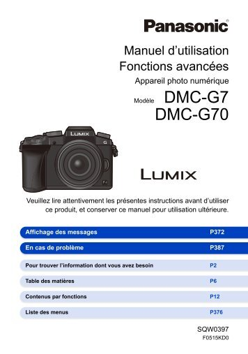 Panasonic Appareil photo Hybride Panasonic DMC-G7 noir Nu - notice