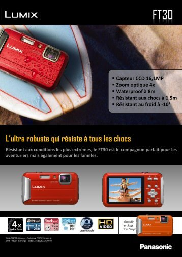 Panasonic Appareil photo Compact Panasonic DMC-FT30 rouge - fiche produit