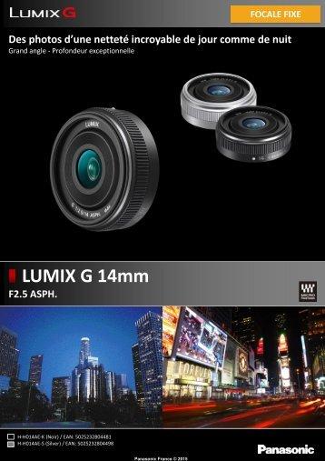 Panasonic Objectif pour Hybride Panasonic 14mm noir F2.5 ASPH. - fiche produit