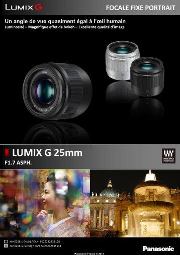Panasonic Objectif pour Hybride Panasonic 25mm f/1.7 silver Lumix G - fiche produit